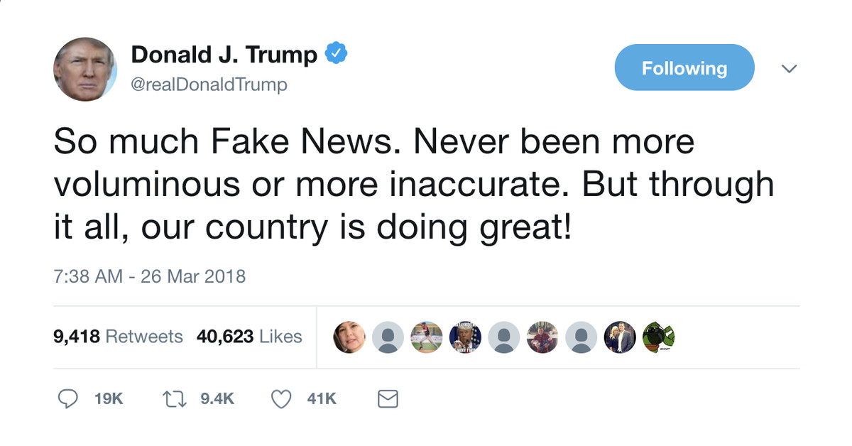 Image result for trump fake news tweets