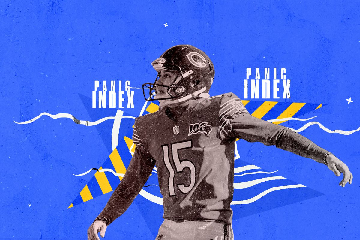 Bears kicker Eddy Piñeiro superimposed on a blue background with white and yellow designs, and the words PANIC INDEX.