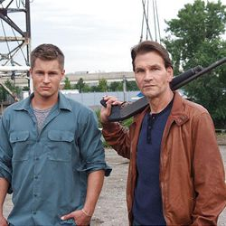 """Travis Fimmel, left, and Patrick Swayze star in the television police drama """"The Beast."""""""