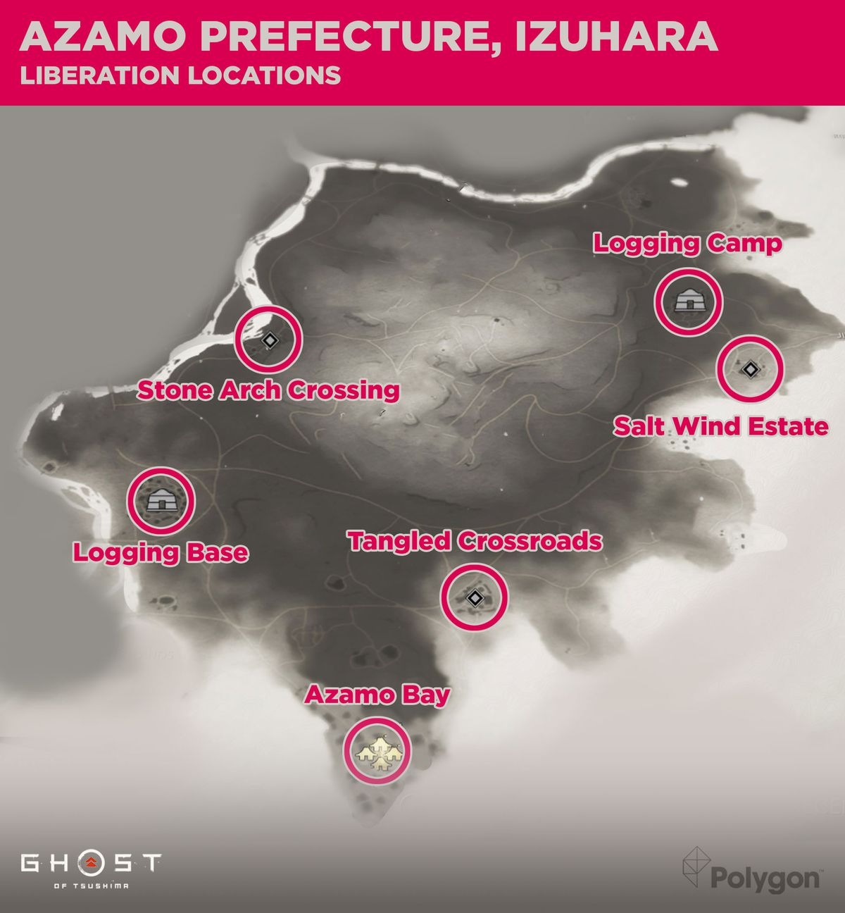 The Azamo prefecture in Ghost of Tsushima and the areas that need to be liberated including: Azamo By, the Logging Base, Stone Arch Crossing, Tangled Crossroads, Salt Wind Estate, and the Logging Camp.