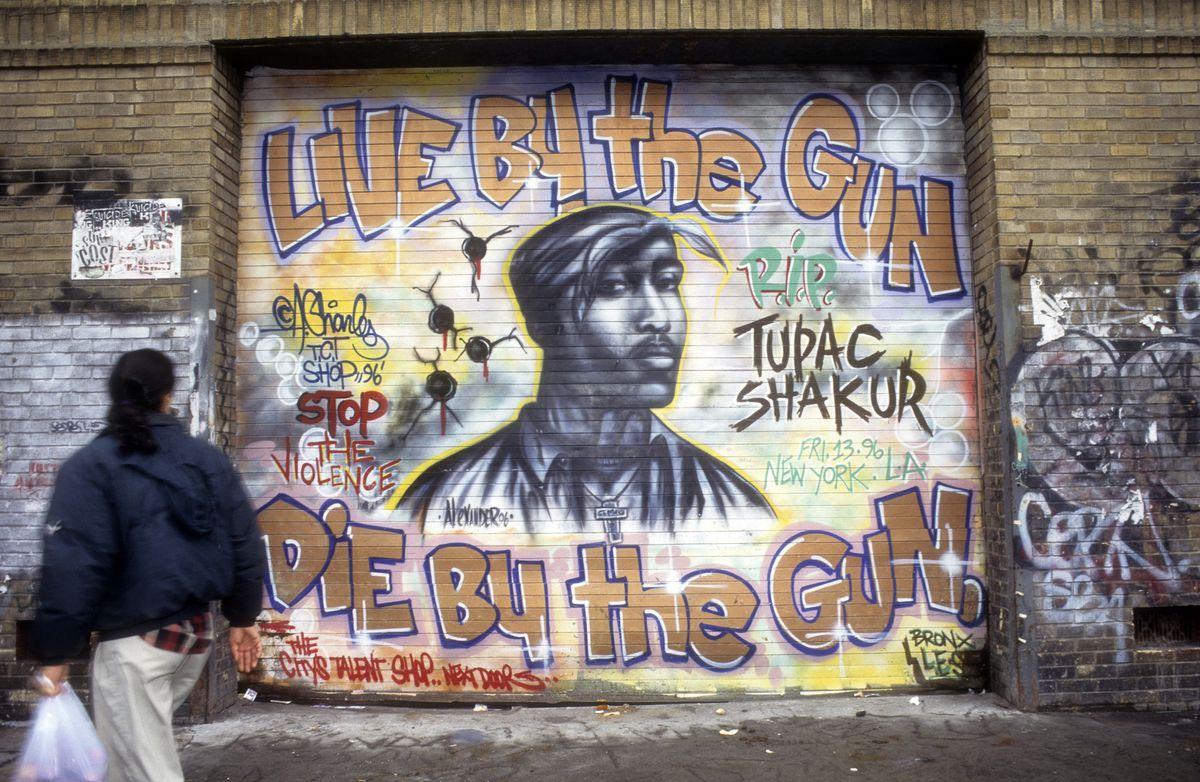 Artist Andre Charles's February 1997 memorial mural for Tupac Shakur on New York City's Houston Street