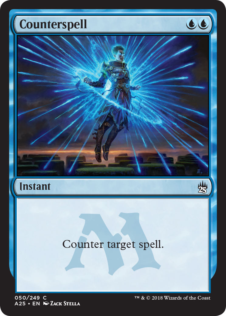 """The Counterspell card reads """"Couner target spell."""""""