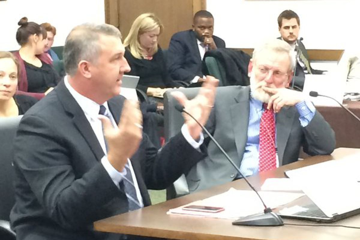Richard Crandall (left) makes a cameo appearance before the state's joint education committee (Todd Engdahl/Chalkbeat).