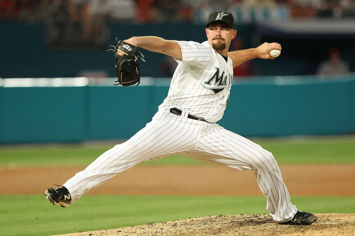MIAMI GARDENS, FL - MAY 10:  Michael Dunn of the Florida Marlins pitches during a game against the Philadelphia Phillies at Sun Life Stadium on May 10, 2011 in Miami Gardens, Florida.  (Photo by Mike Ehrmann/Getty Images)