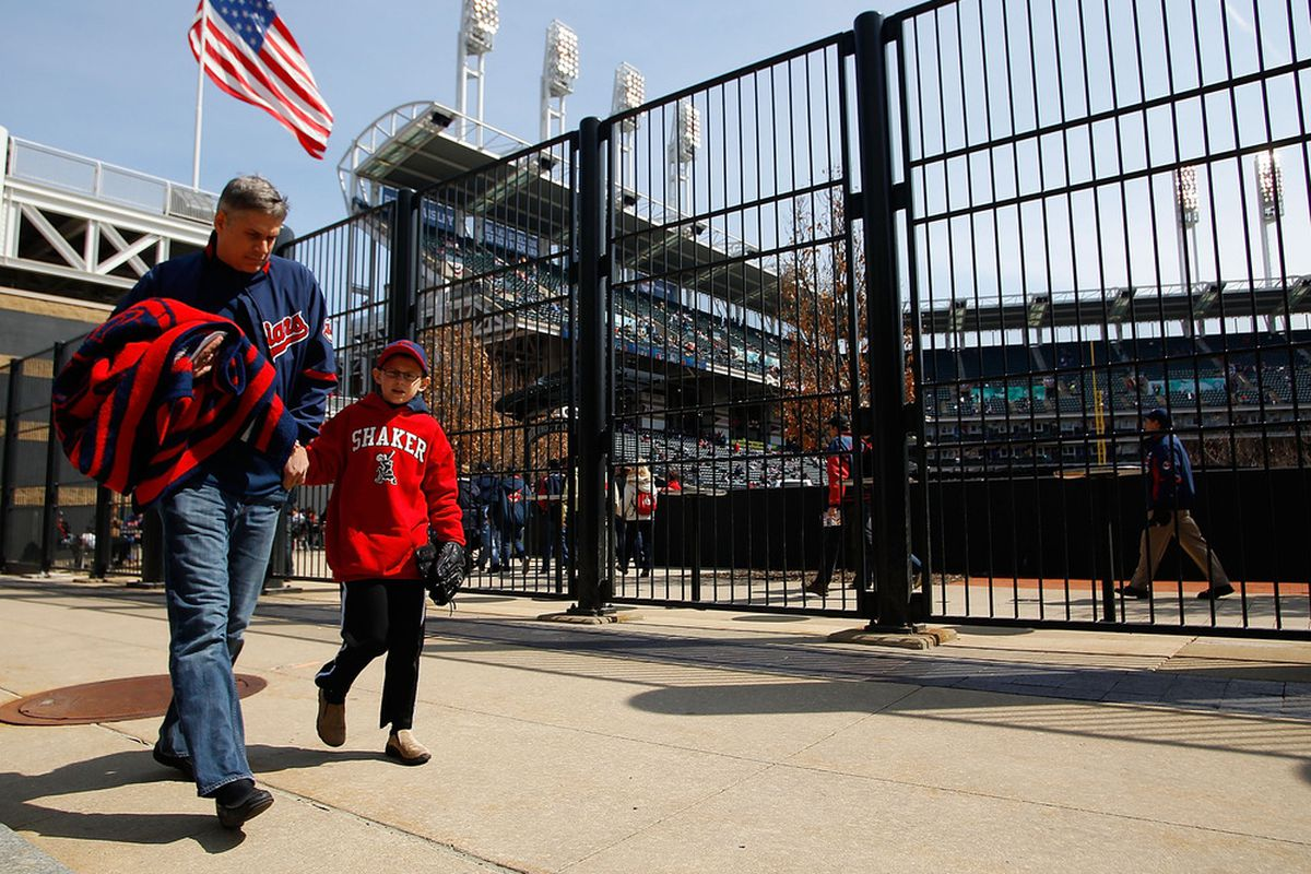 CLEVELAND - APRIL 01:  Fans walk into Progressive Field stadium prior to the Opening Day game between the Cleveland Indians and the Chicago White Sox on April 1, 2011 at Progressive Field in Cleveland, Ohio.  (Photo by Jared Wickerham/Getty Images)