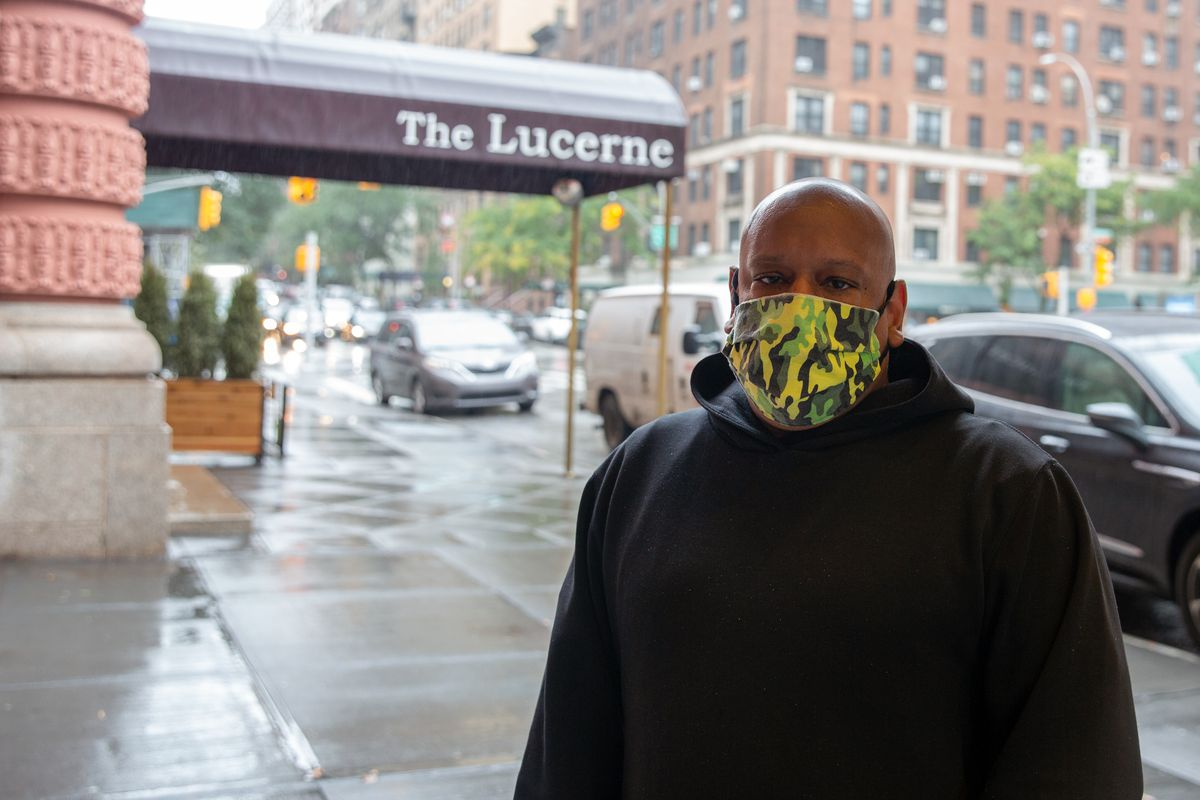 Lucerne Hotel resident Shams DaBaron has been advocating for homeless men to be able to stay in the Upper West Side shelter, Oct. 12, 2020.