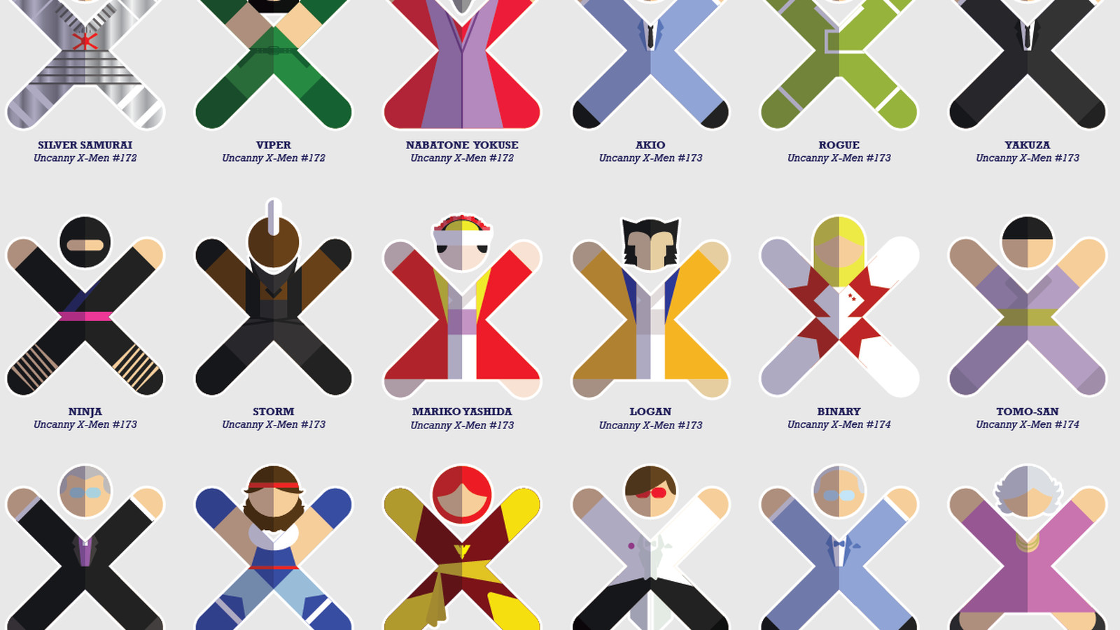 Every X-Men character — and we mean every — drawn as an X icon