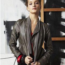 Jacket, Faux Leather Long Sleeve Zipper Pocket Mesh Collar Motorcycle, $149.00