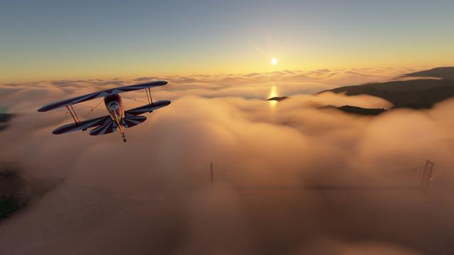A screenshot above San Francisco in Microsoft Flight Sim on Sept. 10
