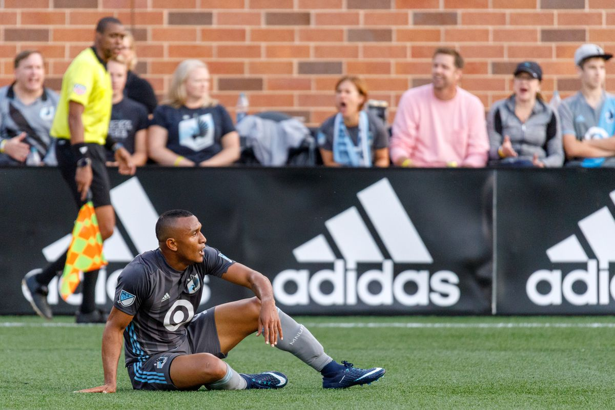 August 4, 2018 - Minneapolis, Minnesota, United States - Minnesota United forward Angelo Rodriguez (9) looks for the ref to signal a foul against him during the Minnesota United vs Seattle Sounders match at TCF Bank Stadium.   (Photo by Seth Steffenhagen/Steffenhagen Photography)