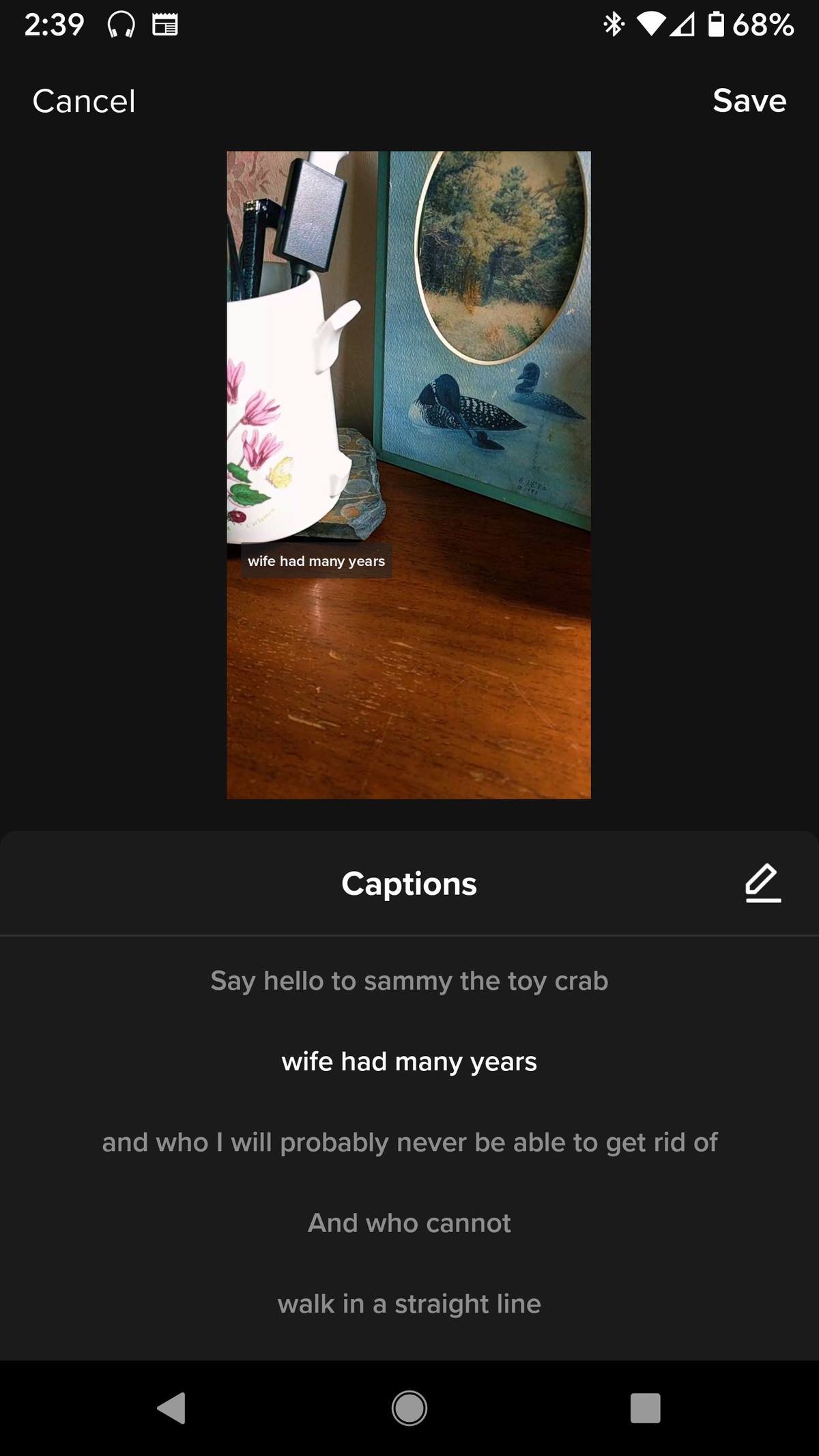 The Captions screen will show you what your captions will look like.