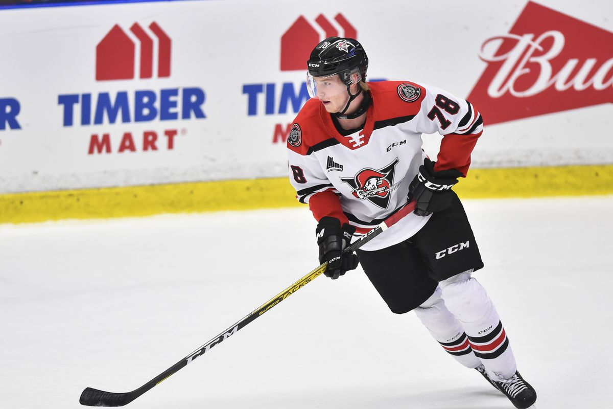 Thimo Nickl #78 of the Drummondville Voltigeurs skates the puck against the Blainville-Boisbriand Armada during the first period at Centre d'Excellence Sports Rousseau on November 17, 2019 in Boisbriand, Canada. The Blainville-Boisbriand Armada defeated the Drummondville Voltiguers 4-3.