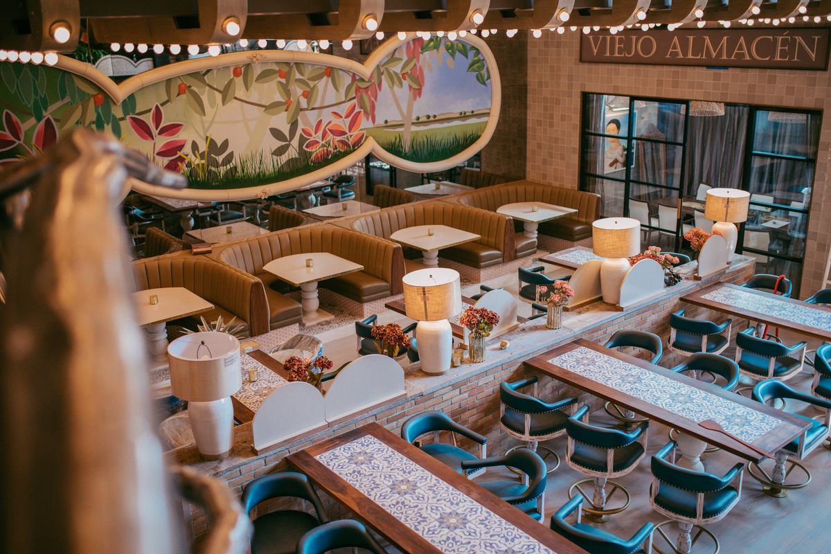Tables and booths fill the dining room at Karina's Cantina