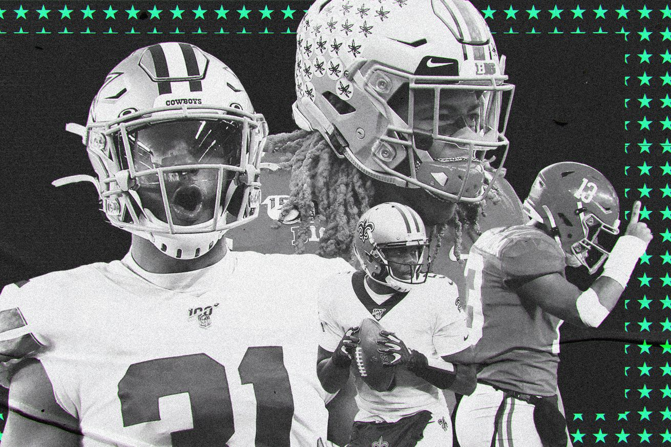 An art collage including current NFL players (Byron Jones, Teddy Bridgewater) and draft prospects (Chase Young, Tua Tagovailoa) superimposed on a black background with a green star border