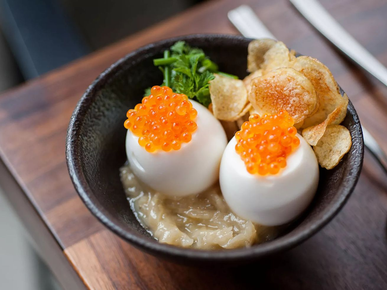 Trout roe on soft boiled eggs at Majordomo
