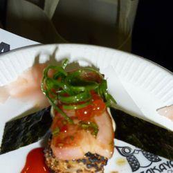 Grilled bacon nigri with smoky bacon ikura from Chizakaya Japanese Pub