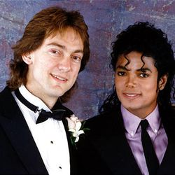 Attorney John Branca, left, and Michael Jackson at Branca's December 1987 wedding in Beverly Hills.