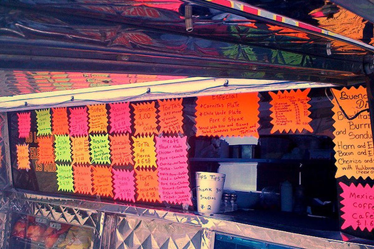 Psychedelic taco truck menuology.