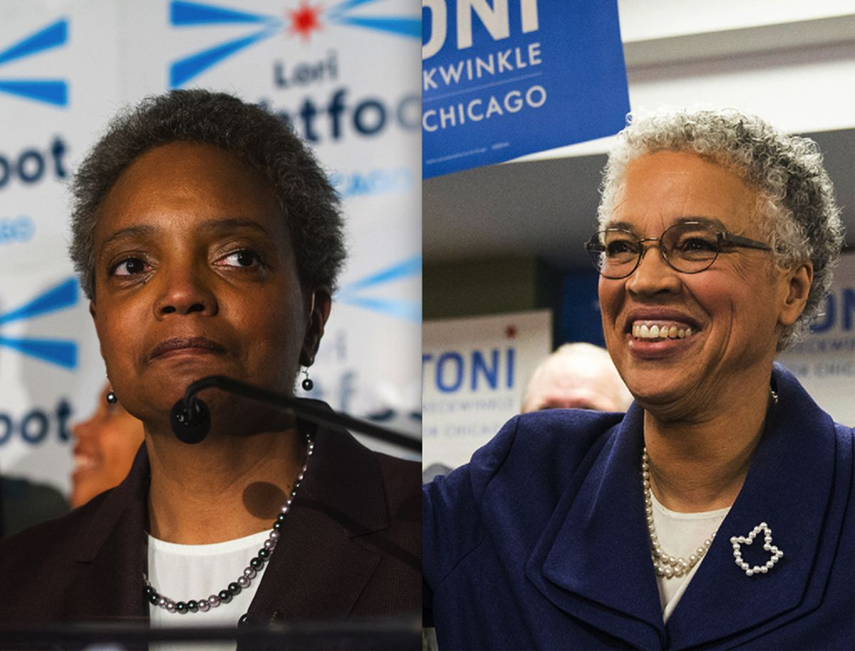 Lori Lightfoot (left) and Toni Preckwinkle, shown at their election night parties on Feb. 26. | Sun-Times photos