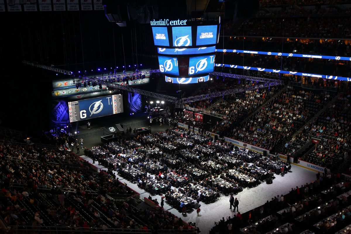 The scene inside the 2013 NHL Draft at the Prudential Center in Newark, NJ.
