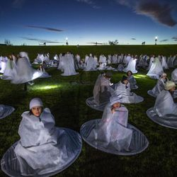 More than 1,000 participants gather Monday, Dec. 1, 2014, at Rock Canyon Park in Provo to set a world record for the largest live Nativity.