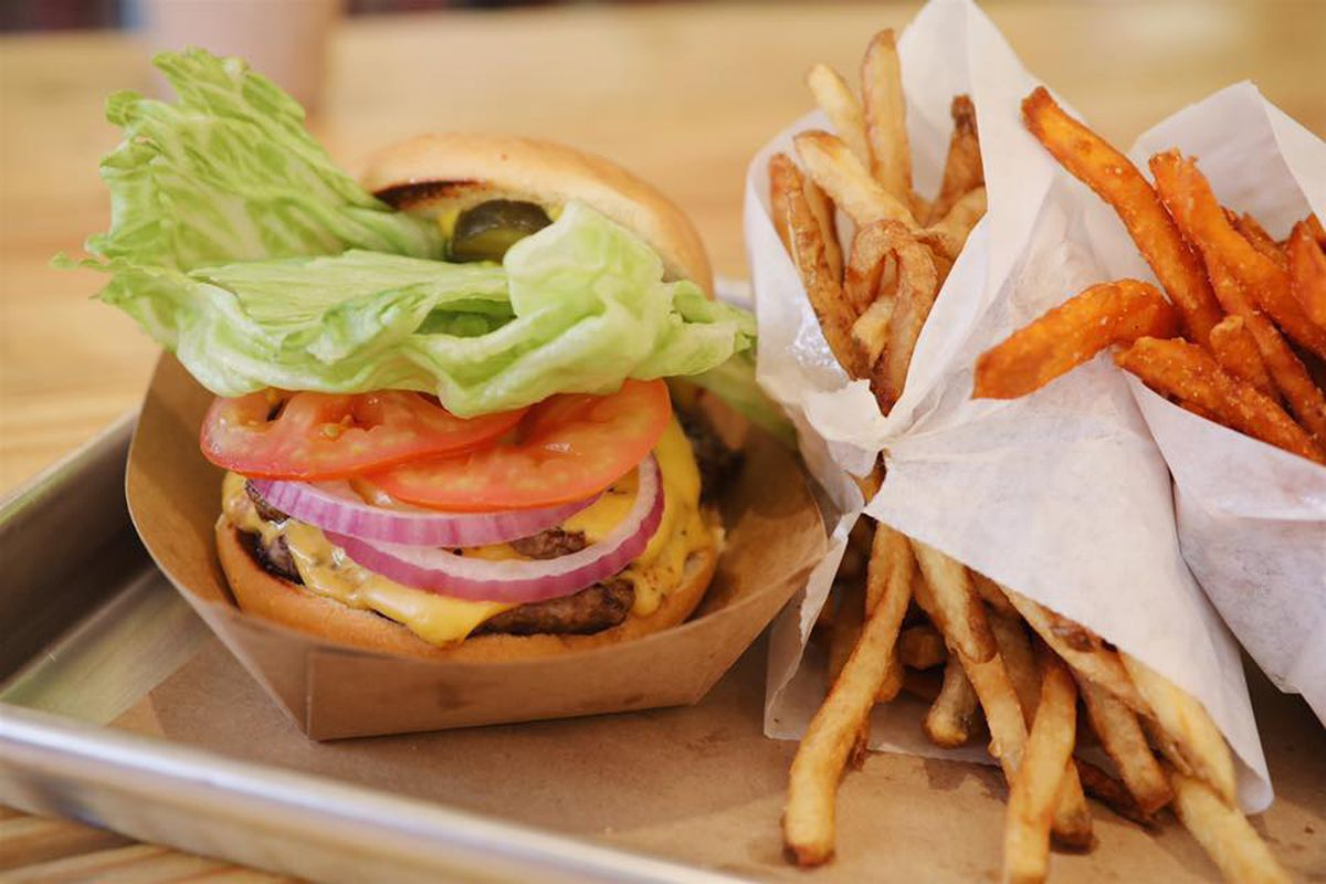 Burger and fries from Hat Creek Burger Co.