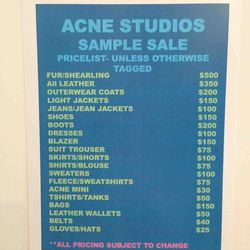 There Are True Samples at the Acne Studios Sample Sale - Racked NY