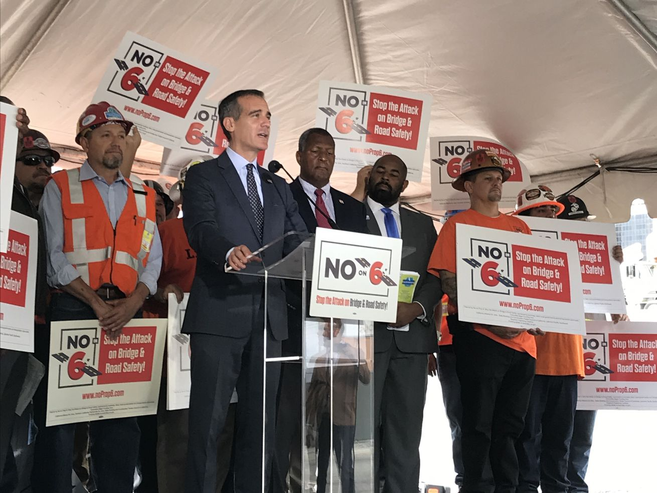 Garcetti speaking against Proposition 6 at a press event Wednesday.