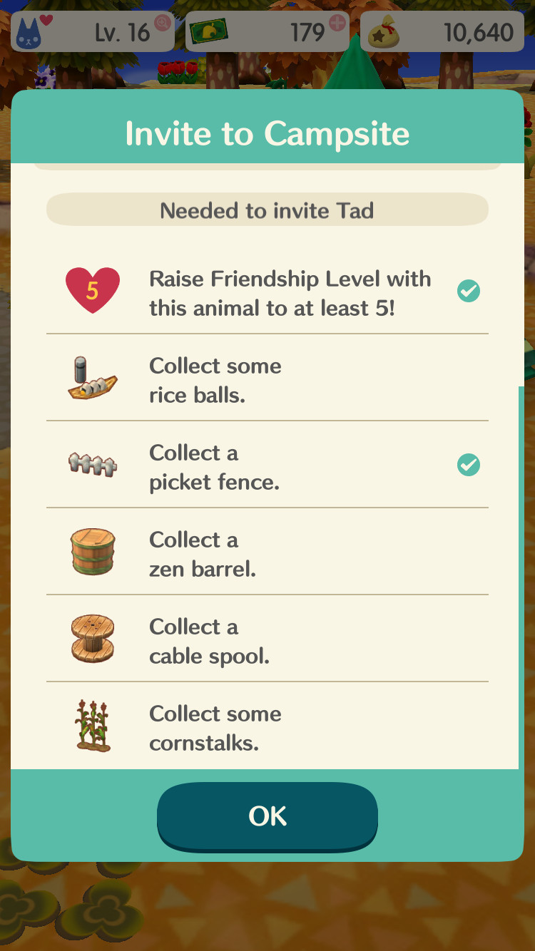 Animal Crossing: Pocket Camp furniture requirements