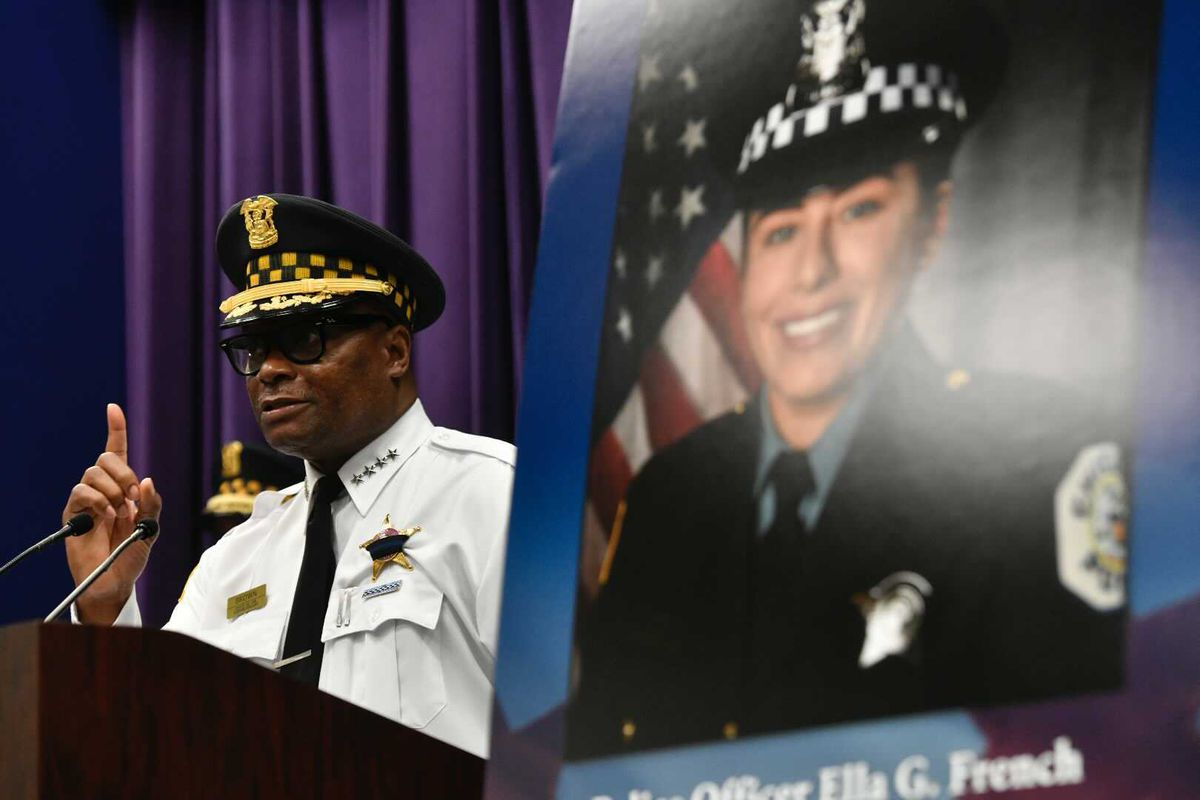 Chicago Police Supt. David Brown announces charges Monday in the shooting of Officer Ella French and her partner.