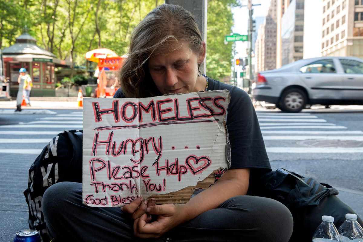 """""""It's impossible. I haven't had a warm meal in days,"""" said Molly Marx abut panhandling near Bryant Park during the coronavirus outbreak, June 22, 2020."""