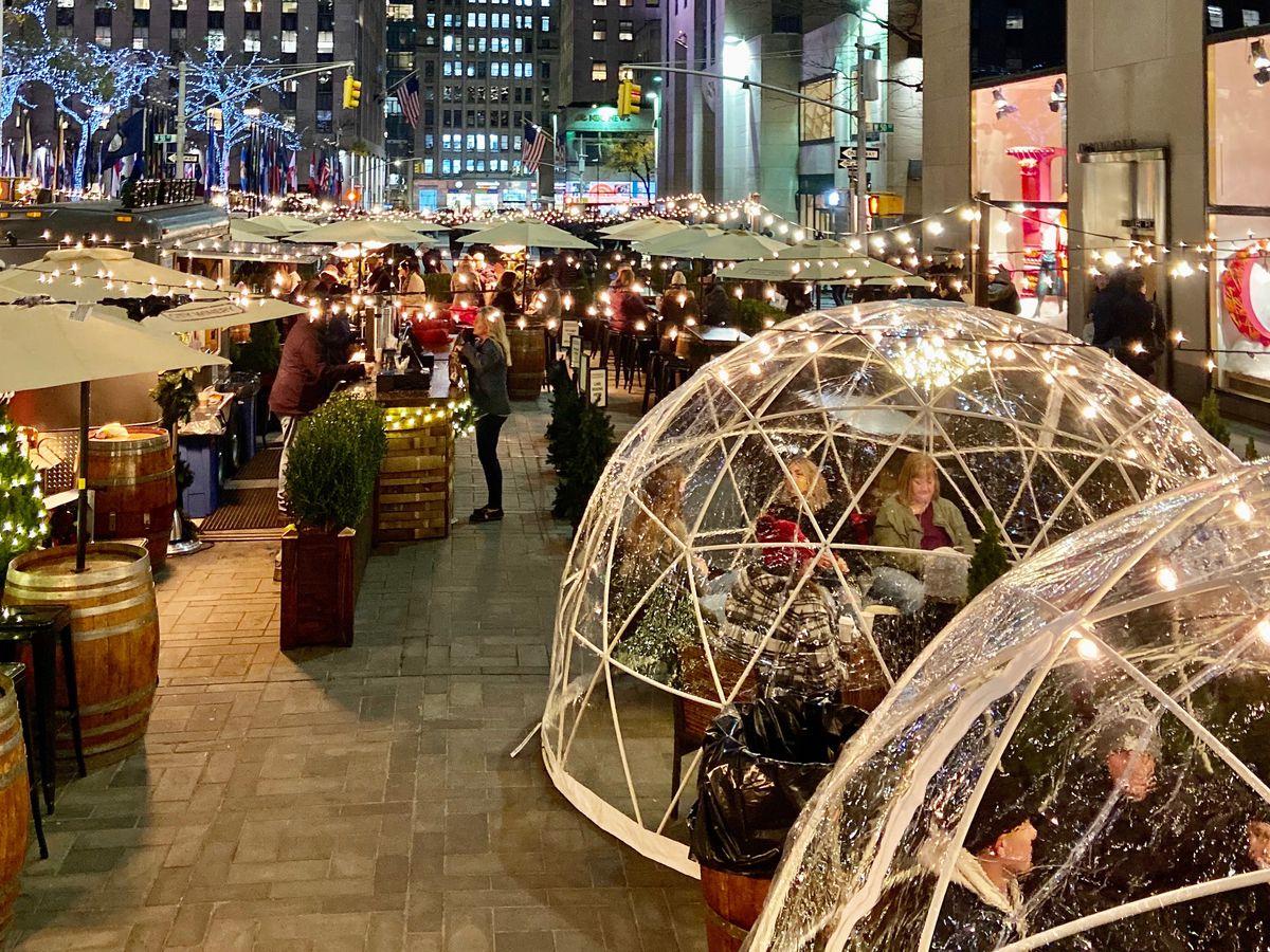 Igloo-enclosed bars on Rockefeller Plaza