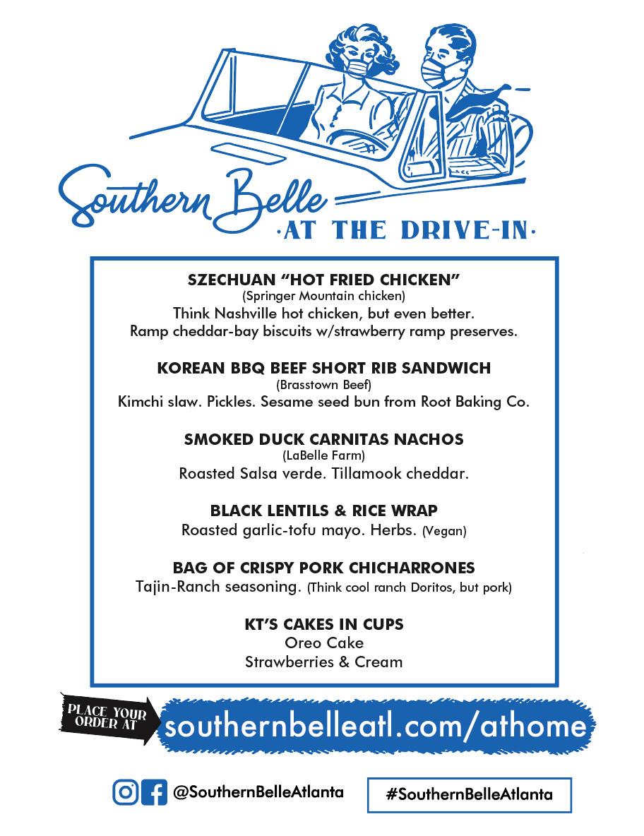 Southern Belle drive in movie menu