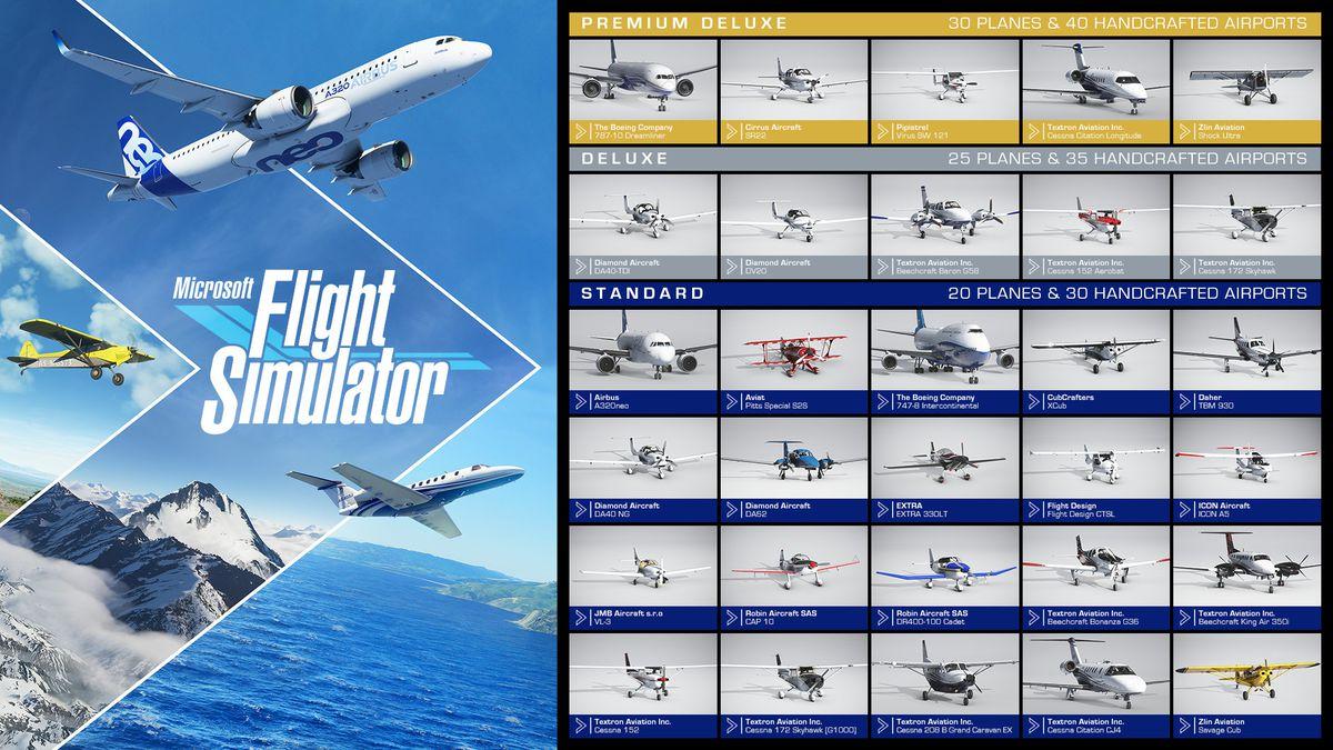 The plane list in Microsoft Flight Simulator