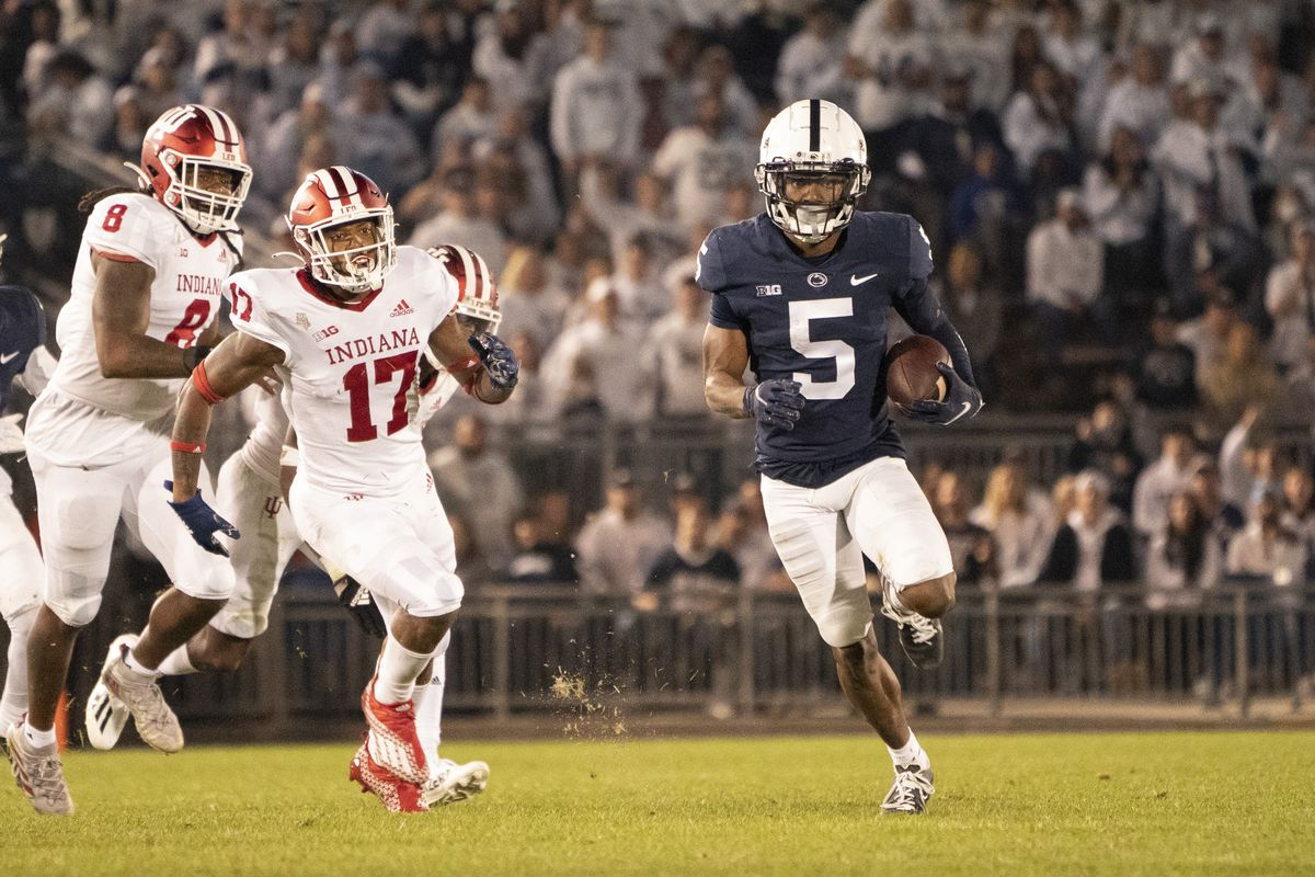 Penn State Nittany Lions Wide Receiver Jahan Dotson (5) returns a punt during the second half of the College Football game between the Indiana Hoosiers and the Penn State Nittany Lions on October 2, 2021, at Beaver Stadium in University Park, PA.