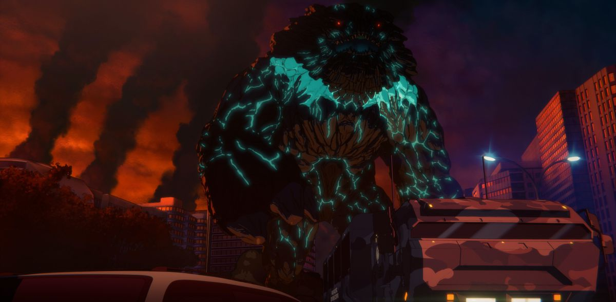 A big, drippy black-and-green kaiju with tiny glowing red eyes in Pacific Rim: The Black