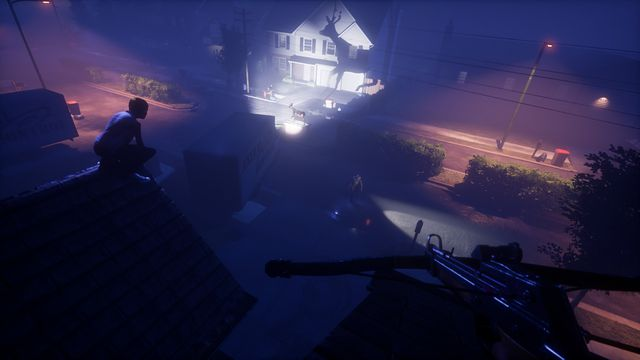 The Blackout Club - two players crouch on two rooftops in a suburban neighborhood, looking at a projected shadow of a deer statue.