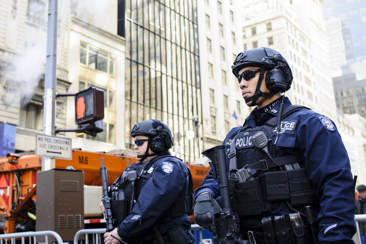 Police stand watch in Midtown Manhattan on Election Day 2016.