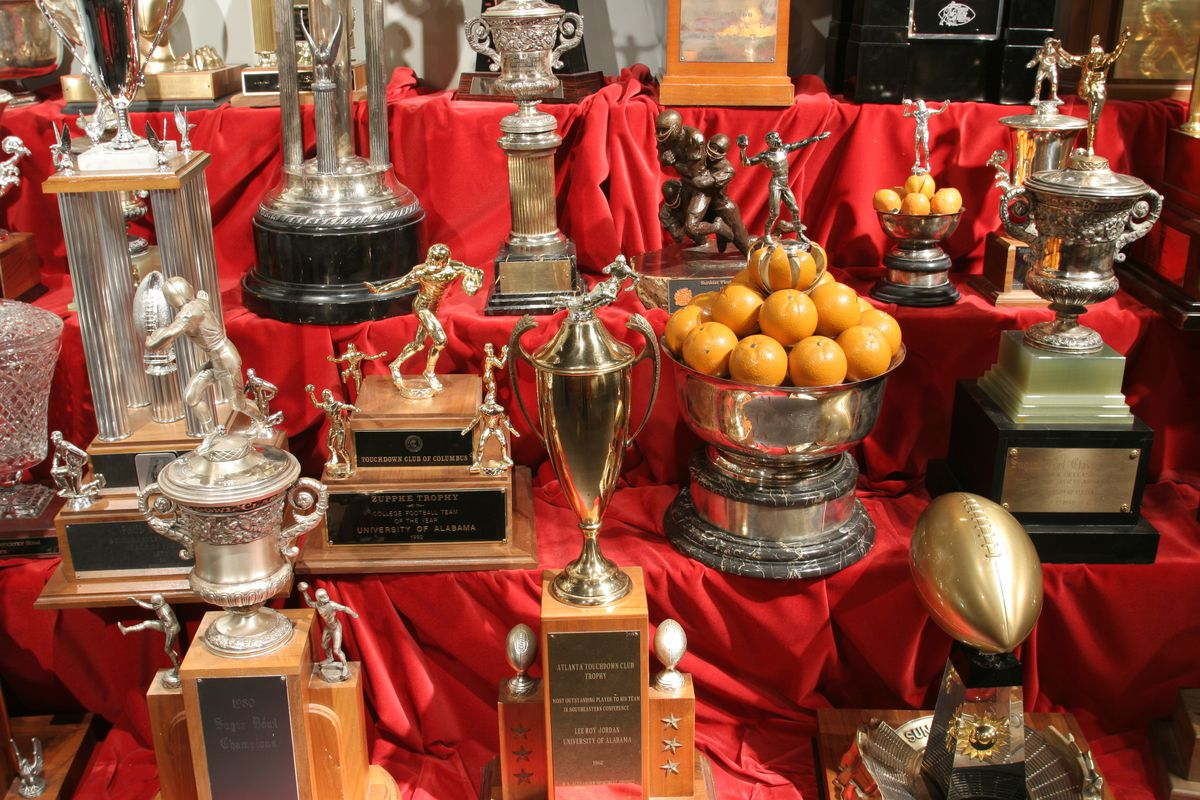 Trophies in the Paul W. Bryant Museum.