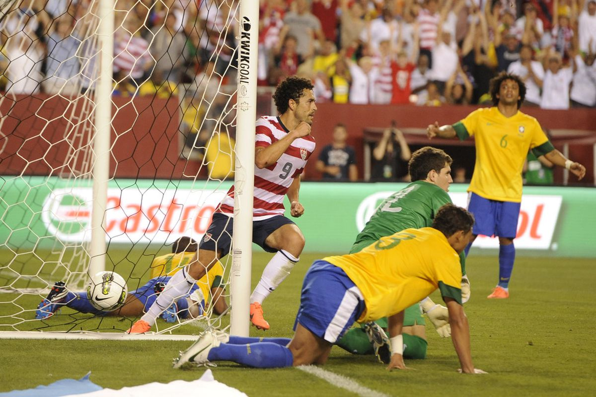 May 30, 2012; Landover, MD, USA; USA forward Herculez Gomez (9) celebrates after scoring a goal against Brazil during the first half of a men's international friendly match at FedEx Field.  Mandatory Credit: Rafael Suanes-US PRESSWIRE