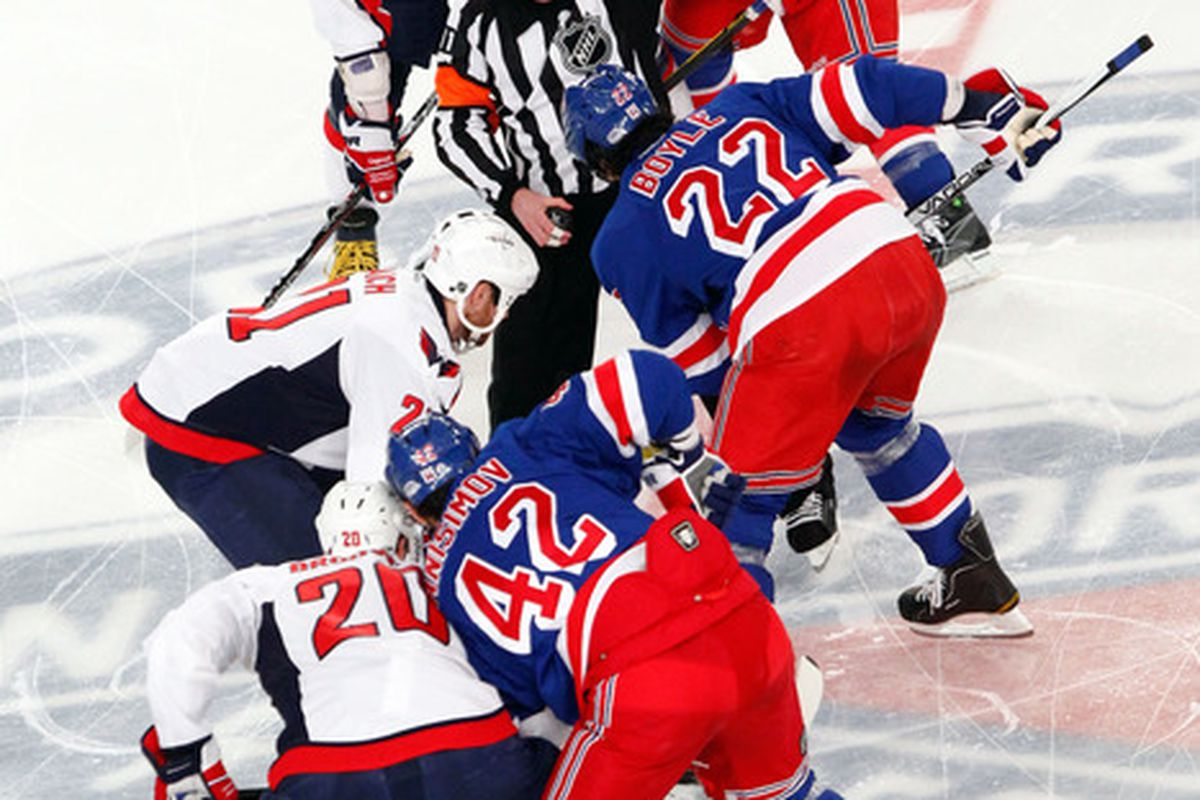 May 7, 2012; New York, NY, USA; Players from the New York Rangers and Washington Capitals face off during the first period in game five of the 2012 Eastern Conference semifinals at Madison Square Garden. Mandatory Credit: Debby Wong-US PRESSWIRE