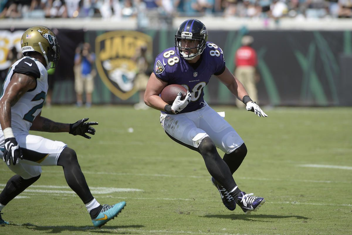 Baltimore Ravens tight end Dennis Pitta (88) runs after catching a pass in front of Jacksonville Jaguars cornerback Dwayne Gratz (27) during the first half of an NFL football game in Jacksonville, Fla., Sunday, Sept. 25, 2016.