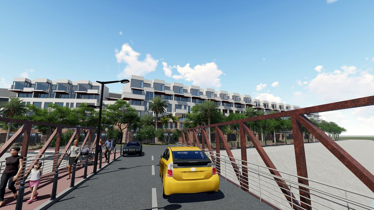 A rendering of a car going over a bridge heading toward a six-story building.