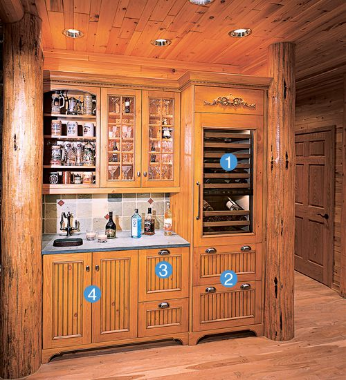 <p><strong>LOADED WITH HIDDEN EXTRAS</strong><br>First came the rustic home's massive pine support columns.<br> Then came the wet bar by kitchen designer Larry Frasier of Rhinelander, Wisconsin, that fit snugly in between them. The homeowners, a three-generation family that likes to get together at their lake cabin on weekends, wanted an atmospheric, highly functional bar area across from the kitchen. So Frasier took the 6-foot-4-inch space and, using Wood-Mode cabinetry, designed a fully stocke