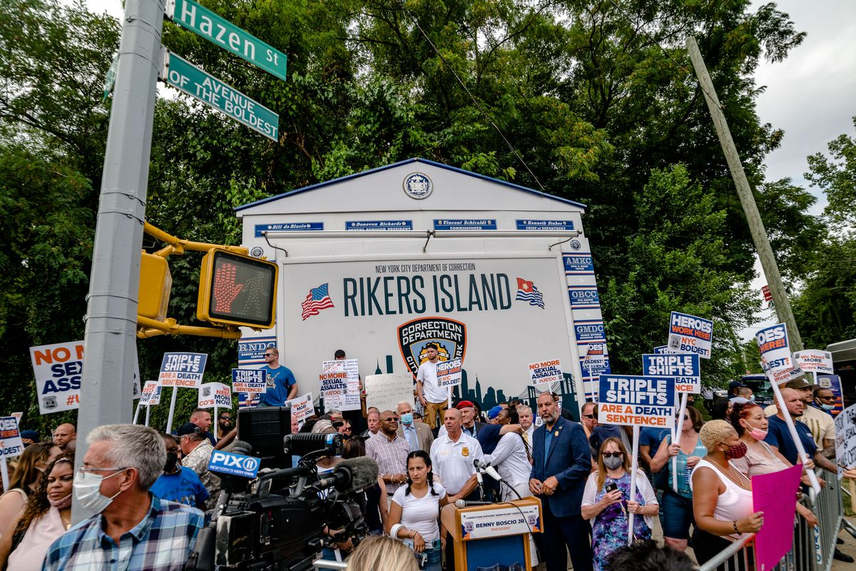 COBA Rally at the entrance to Riker's Island on Monday, August 16th, 2021