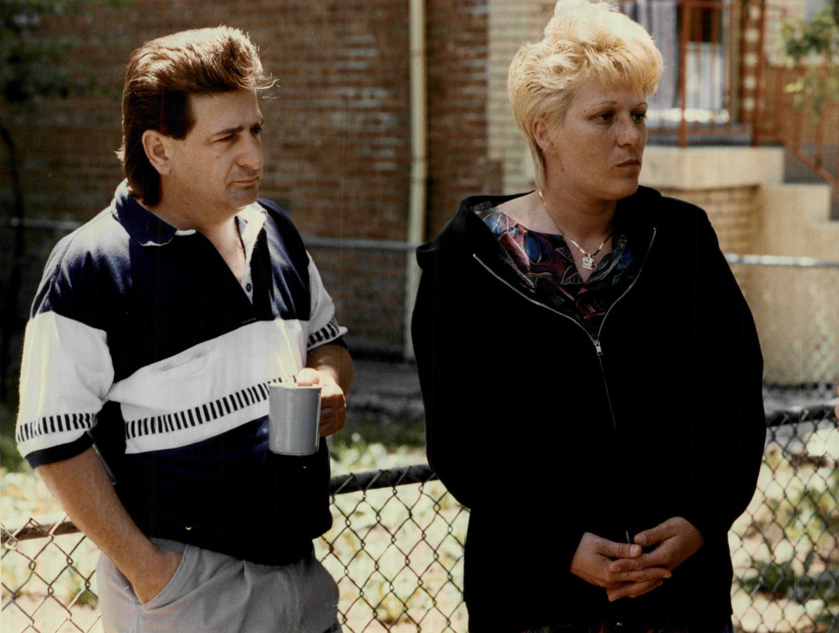Joey Chlopek's mother Debra Fahrforth and his stepfather Edwar speaking with reporters outside their home on West 38th Street on June 8, 1992.