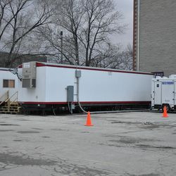 Construction trailers at the west end of the broadcast center -