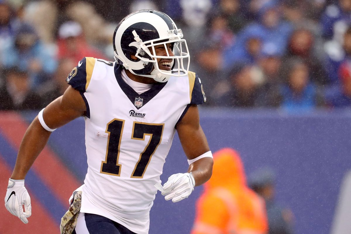 EAST RUTHERFORD, NJ:  Los Angeles Rams wide receiver Robert Woods (17) celebrates a touchdown catch against the New York Giants defense at MetLife Stadium.
