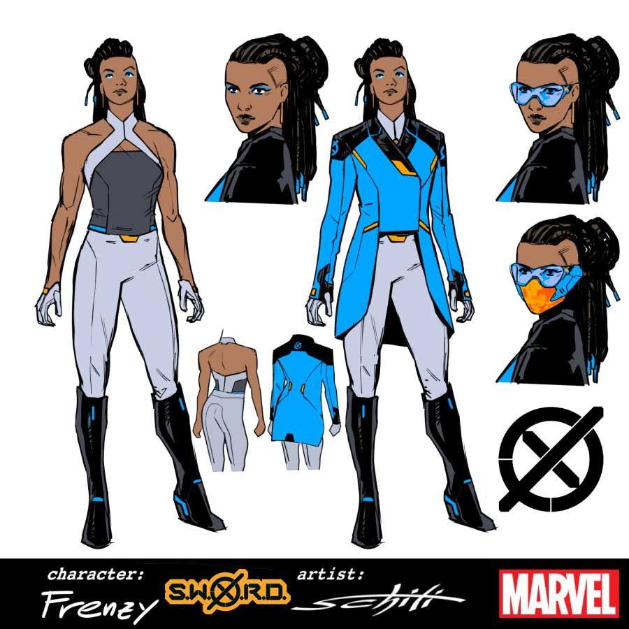 Character designs for Frenzy, in a somewhat nautical outfit featuring grey pants, high black boots, and a blue and black jacket.