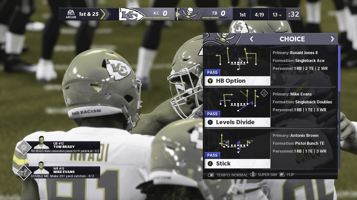 Screenshot from Madden 21, showing different options of plays, with color contrast adjusted for color blindness.